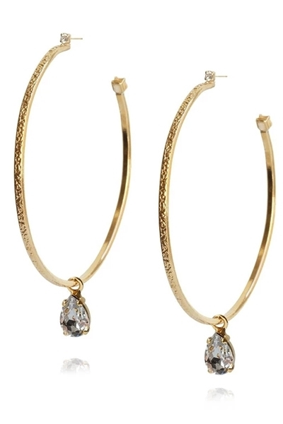 Bilde av Drop Loop Earring Gold BLACK DIAMOND *