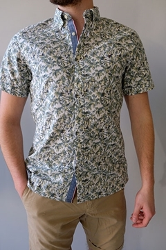 Bilde av Slim Palm Tree Print Shirt s/s