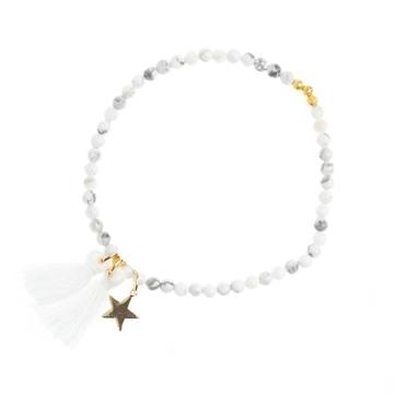 Bilde av Stone Bead Bracelet 4mm WHITE MARBLE *