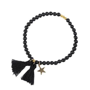Bilde av Stone Bead Bracelet 4mm BLACK W/GOLD *