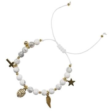 Bilde av Stone Bead Bracelet 6mm Charm WHITE MARBLE *